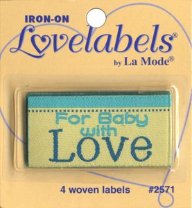 Label For Baby With Love Iron-on 4ct.