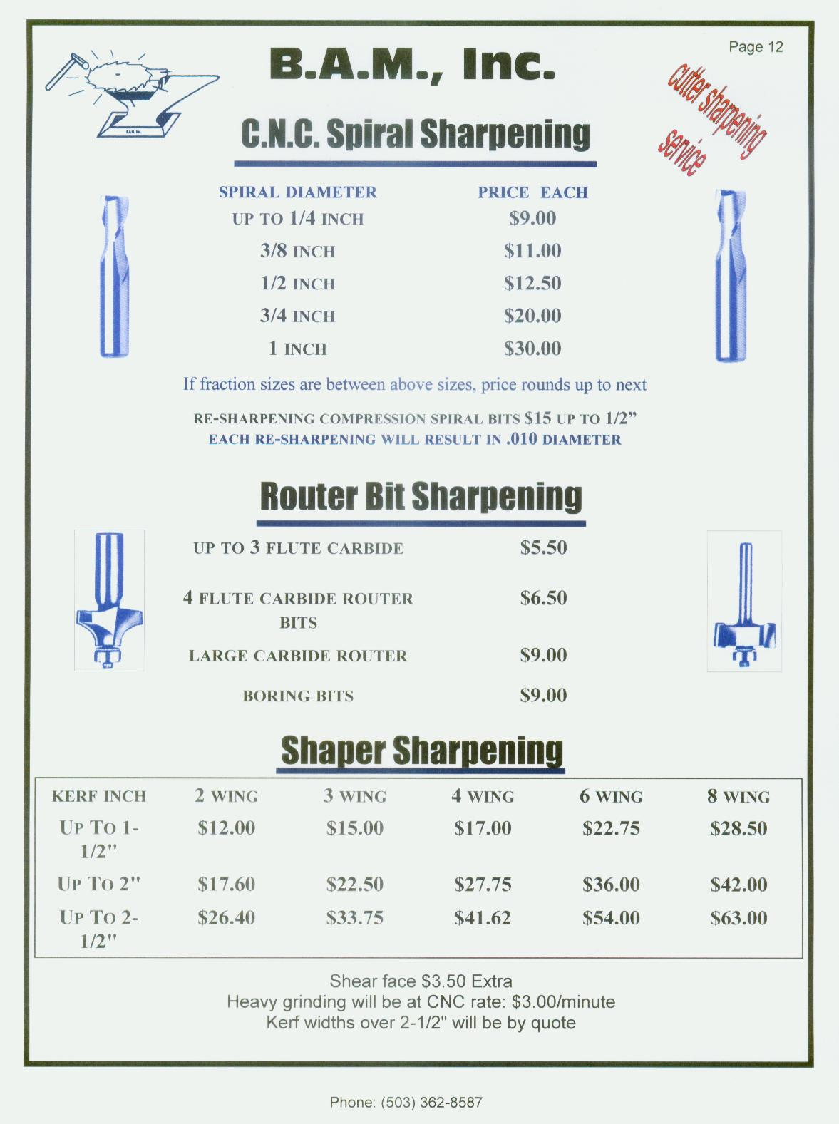 Router Bit Sharpening Service Router Bit Sharpening