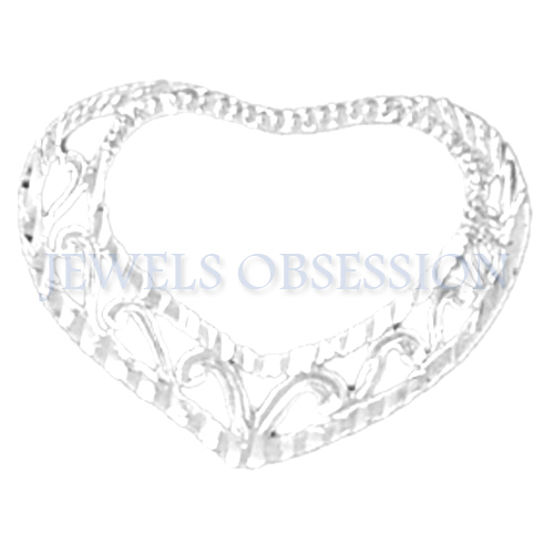 Jewels Obsession 14K White Gold 17mm Floating Heart Pendant (approx. 0.8 grams)