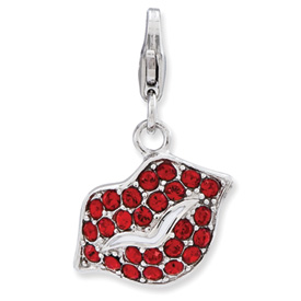 Silver Red Crystal Lips Charm