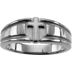 14K White Gold Gents Religious Cross Duo Band