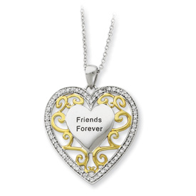 "Sterling Silver ""Friends Forever"" Heart Charm"