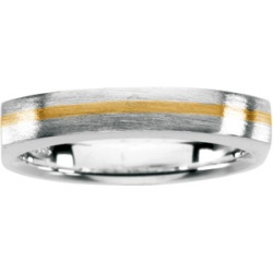 Gents Two Tone Sterling Silver and 18k Yellow Gold Insert Fashion Ring