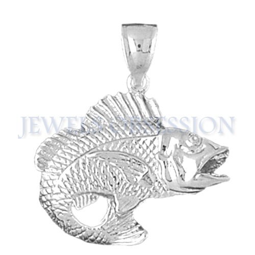 Jewels Obsession 14K White Gold 31mm Bass Pendant (approx. 13.8 grams)