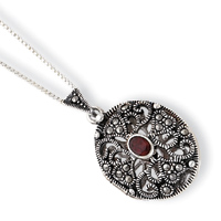 Sterling Silver Marcasite & Garnet Locket w/Chain