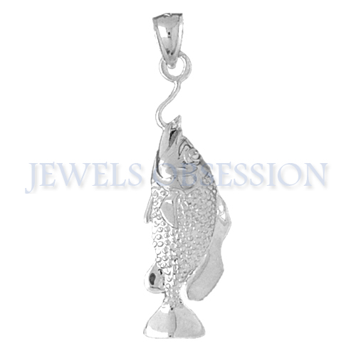 Jewels Obsession 14K White Gold 46mm Bass Pendant (approx. 5.8 grams)