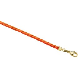 14K Yellow Gold 3 mm Orange Braided Leather Cord
