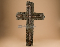 "Rustic 9/11 Memorial Wall Cross -Concrete & Rebar 15.5"" (23)"