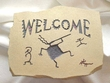 Southwest Kokopelli Welcome Plaque -Tan