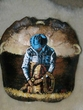 "Painted Turtle Shell Wall Decor 12""x13"" -Cowboy  (30)"