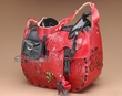 Western Tooled Leather Saddle Purse -Red  (p7)