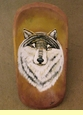 "Hand Painted Rustic Wooden Bowl 24"" -Wolf"