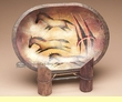 Hand Painted Wooden Bowl & Stand -Horses   (PB34)