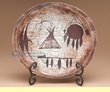"Hand Painted Wooden Bowl & Stand 10"" -Cave Drawings (b24)"