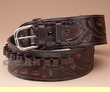 "44-45 Cal. Hand Tooled Western Gun Belt 50""  (b4)"