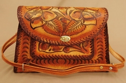 Western Hand Tooled Leather Purse -Dark Lace (49)