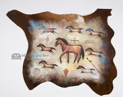 "Painted Calf Skin for Western Decor 37""x28"" -Horses  (h35)"