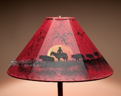 "20"" Painted Leather Lamp Shade -Moonlight Ride (PL53)"
