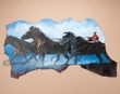 "Hand Painted Western Hide 38""x22"" -Mustangs  (h17)"