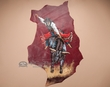 Hand Painted Western Hide Wall Hanging 25x40 -Rodeo