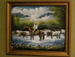 "Hand Painted Western Cowboy Art 19""x23"" -Crossing   (16)"