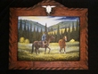 "Hand Painted Western Art 25""x30"" -Carved Frame  (23)"