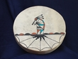 "Painted Native American Tigua Indian Drum -16"" kokopelli"