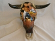 Painted Steer Skull -Cowboy 18x20  CLEARANCE