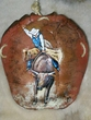"Painted Turtle Shell Wall Decor 13""x14"" -Bull Rider  (29)"
