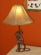 Western Wrought Iron Cowboy & Guitar Lamp w/ Southwest Rawhide Shade