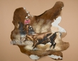 Painted Cow Hide for Western Decor 33x33 -Cowgirl  (ph2)