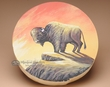 "Hand Painted Tarahumara Drum 16"" -Buffalo (pd43)"