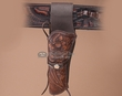 "Tooled Western Gun Holster 8"" -Left Handed  (h2)"