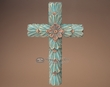 "Rustic Hand Carved Wooden Cross 17""  (c28)"