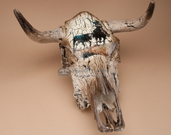 Distressed Western Steer Skull 19x21 -Cowboy  (ps76)