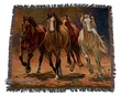 "Southwestern Throw Blanket 50""x60"" -Running Horses  (st16)"