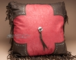 Rustic Faux Leather Western Pillow 18x18 -Red Tooled