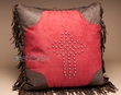 Western Leather Pillow 18x18 -Rustic Cross