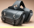 Black Leather Studded Motorcycle Saddle Bags  (sb2)