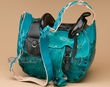 "Western Leather Saddle Purse 11"" -Turquoise"