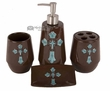 Rustic Southwest Bath Set 4 piece -Turquoise Cross  (b7)