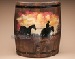"Rustic Hand Painted Western Barrel Wall Decor 18"" -Cowboy  (wd2)"