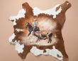 Western Painted Cow Hide  33x36 -Cowboy   (ph28)