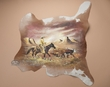 Hand Painted Calf Skin Cow Hide 32x35 -Strays  (50)