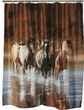 Western Bathroom Shower Curtain -Running Horses