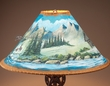 "20"" Painted Pigskin Lamp Shade -Cabin  (pl18)"