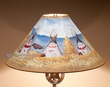 "Painted Leather Lamp Shade 20"" -Indian Village  (PL89)"