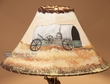 "Painted Leather Lamp Shade - 16"" Wagon  (PL46)"