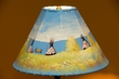 "Painted Leather Lamp Shade 15"" -Indian Village  (PL100)"