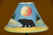"Painted Leather Lamp Shade 15"" -Black Bear  (PL11)"